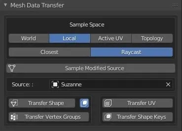 UI of the Mesh Data Transfer Addon