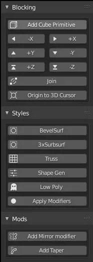 UI of the Blocker addon for Blender