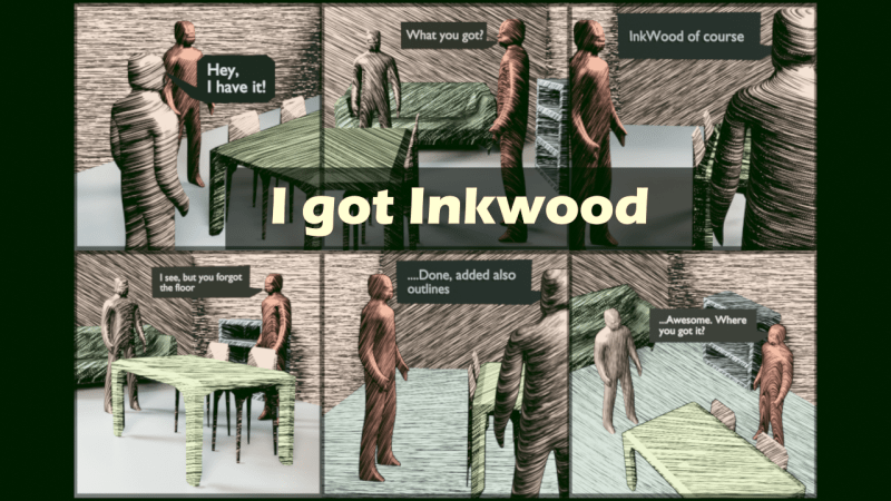 Comic strip with Durink Inkwood shaders for Blender
