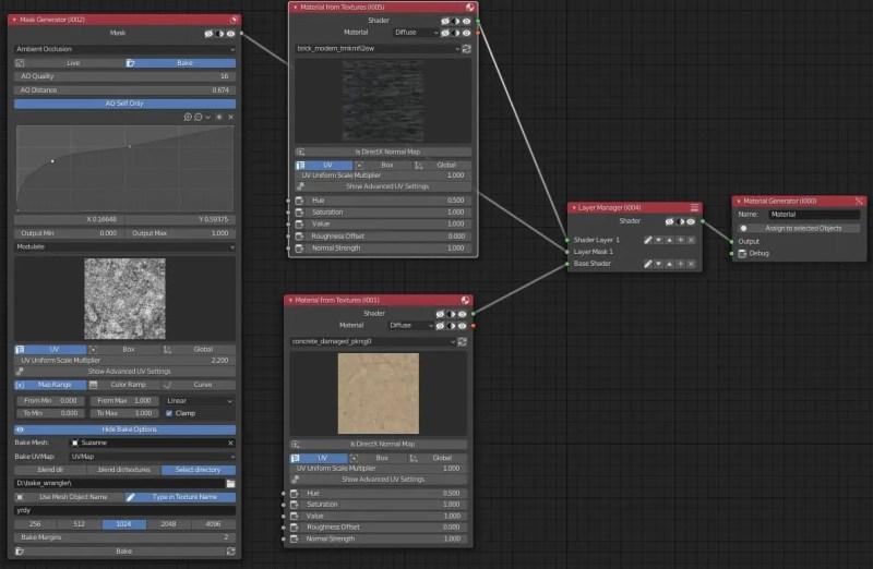 Material Wizard Example of node setup