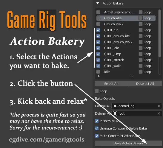 game rig tools action bakery