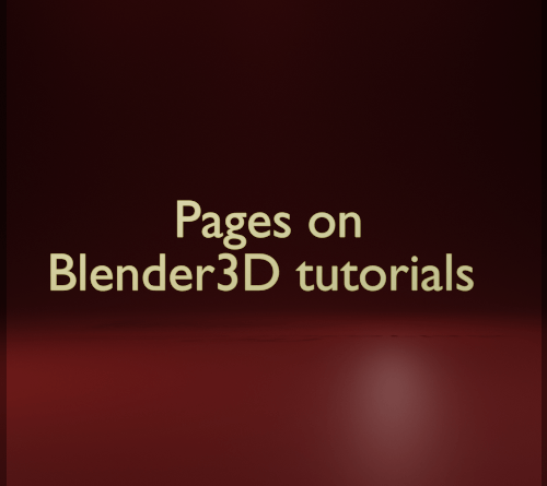 Cover of the pages section on Blender3D tutorials