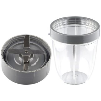 Extractor Blade and 18 oz Short Cup with Lip Ring Replacement Parts Compatible with NutriBullet 600W 900W Blenders NB-101B NB-101S NB-201