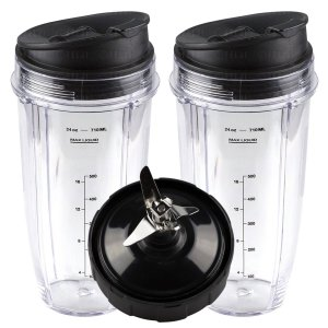 2 Nutri Ninja 24 oz Cups with Sip & Seal Lids and 1 Extractor Blade Replacement Combo 483KKU486 408KKU641 409KKU641