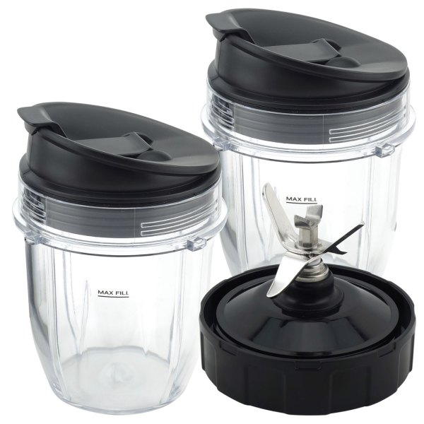 2 Pack 12 oz Cup with Sip & Seal Lid and Extractor Blade Replacement Part Compatible with Nutri Ninja Auto-iQ 431KKU480 426KKU450 408KKU641