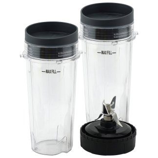 2 Pack 16 oz Cup with Lid and Extractor Blade for Nutri Ninja BL770 BL771 BL772 BL773CO BL780 BL810 BL820 BL830 Parts 303KKU 305KKU 322KKU770