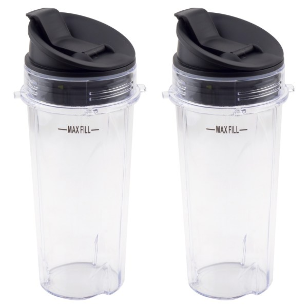 2 Pack 16 oz Cups with Sip & Seal Lids Replacement Part Model 303KKU 356KKU800 for Nutri Ninja BL660 BL660W BL740 BL810 BL820 BL830