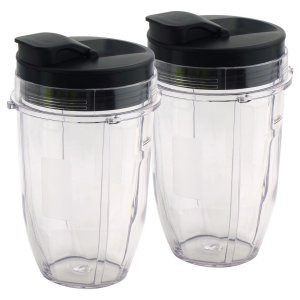 2 Pack 18 oz Cups with Spout Lids Replacement for Nutri Ninja BlendMax DUO with Auto-iQ Boost, Parts 427KKU450 528KKUN100