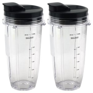 2 Pack 24 oz Cups with Spout Lids Replacement for Nutri Ninja BlendMax DUO with Auto-iQ Boost, Parts 483KKU486 528KKUN10