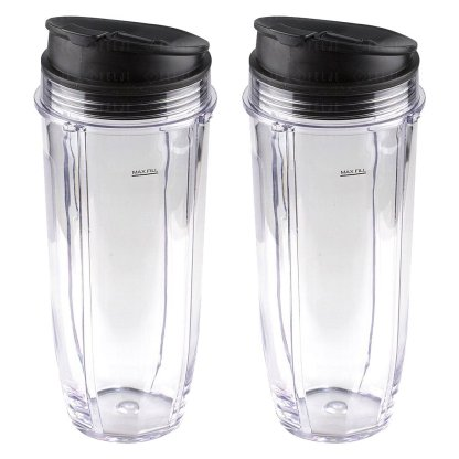 2 Pack Nutri Ninja Jumbo Multi-Serve 32 oz Cups with Sip & Seal Lids Replacement Model 407KKU641 408KKU641