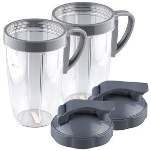 2 Pack 24 oz Tall Cup with Handled Lip Ring and Flip To-Go Lids Replacement Part Compatible with NutriBullet NB-101B NB-101S NB-201
