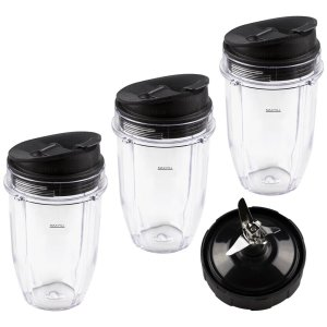 3 Nutri Ninja 18 oz Cups with Sip & Seal Lids and 1 Extractor Blade Replacement Combo 427KKU450 408KKU641 409KKU641