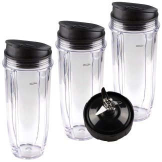 3 Nutri Ninja Jumbo Multi-Serve 32 oz Cups with Sip & Seal Lids and 1 Extractor Blade Replacement Combo 407KKU641 408KKU641 409KKU641