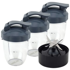 3 Pack 18 oz Short Cup with Flip To Go Lid + Extractor Blade for NutriBullet Lean NB-203 1200W Blender