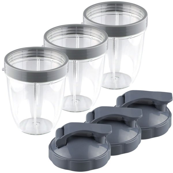 3 Pack 18 oz Short Cup with Lip Ring and Flip To-Go Lids Replacement Part Compatible with NutriBullet NB-101B NB-101S NB-201