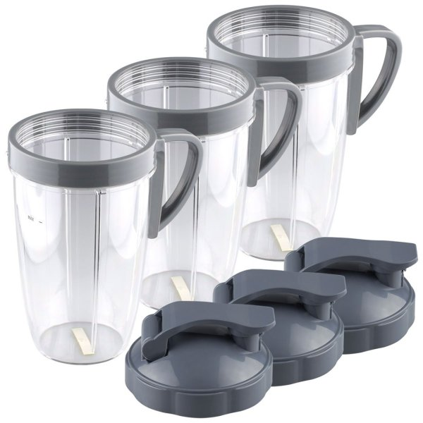 3 Pack 24 oz Tall Cup with Handled Lip Ring and Flip To-Go Lids Replacement Part Compatible with NutriBullet NB-101B NB-101S NB-201