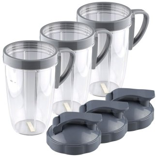 3 Pack NutriBullet 24 oz Tall Cup with Handled Lip Ring and Flip To-Go Lids