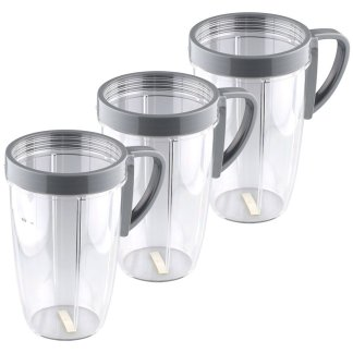 3 Pack 24 oz Tall Cups with Handled Lip Rings Replacement Parts Compatible with NutriBullet 600W 900W Blenders NB-101B NB-101S NB-201