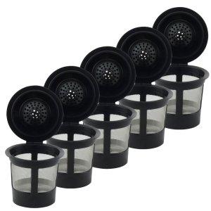 5 Pack Keurig Single K-Cup Solo Reusable Coffee Filter Pods Stainless Mesh for K10 K15 K40 K45 K55 K60 K65 K70 K75 K79