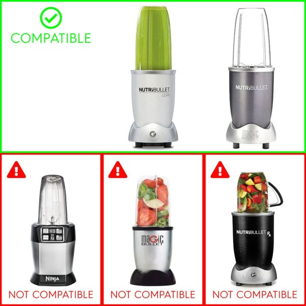 24 oz Tall Cup with Handled Lip Ring + Extractor Blade Replacement Parts Compatible with NutriBullet Lean NB-203 1200W Blenders