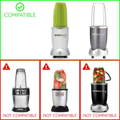 3 Pack 18 oz Short Cups with Lip Ring + Extractor Blade Replacement Parts Compatible with NutriBullet Lean NB-203 1200W Blenders
