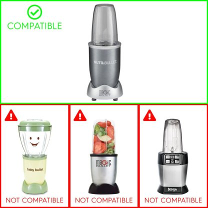 Extractor Blade + 3 Pack 18 oz Short Cups with Lip Ring Replacement Parts Compatible with NutriBullet 600W 900W Blenders NB-101B NB-101S NB-201