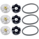 3 Pack Motor Gears, Rubber Gears and Gaskets Replacement Parts for NutriBullet 600W 900W Blenders NB-101B NB-101S NB-201