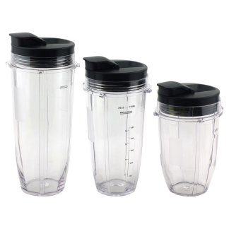 Nutri Ninja 18 oz, 24 oz, 32 oz Cups with Spout Lids Replacement Parts 427KKU450 483KKU486 407KKU641 528KKUN100