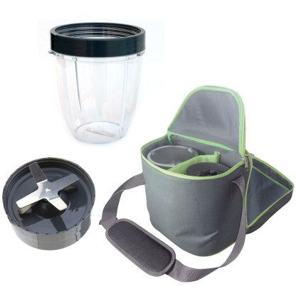 Extractor Blade 600W 900W + 18oz Short Cup + Insulated Travel Bag Bundle For NutriBullet