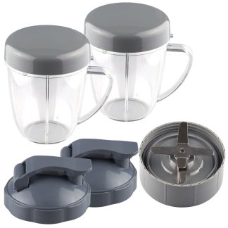 NutriBullet Extractor Blade + 2 18 oz Handled Short Cups with Re-Sealable Lids and Flip To-Go Lids