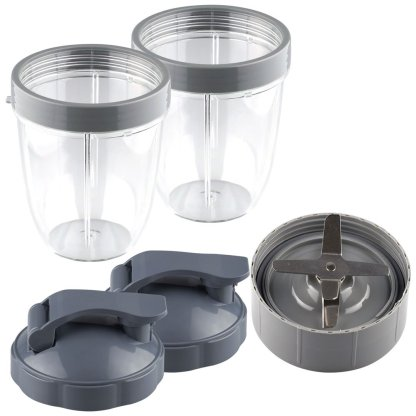 NutriBullet Extractor Blade + 2 18 oz Short Cups with Lip Ring and Flip To-Go Lids