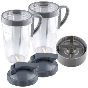 2 Pack 24 oz Tall Cup with Handled Lip Ring, Flip To-Go Lids and Extractor Blade Replacement Part Compatible with NutriBullet NB-101B NB-101S NB-201