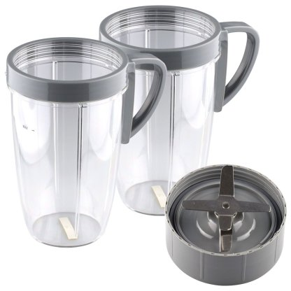 Extractor Blade + 2 Pack 24 oz Tall Cup with Handled Lip Ring Replacement Parts Compatible with NutriBullet 600W 900W Blenders NB-101B NB-101S NB-201