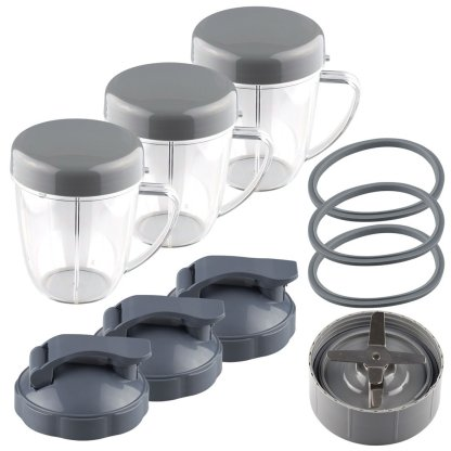 NutriBullet Extractor Blade + 3 18 oz Handled Short Cups with Re-Sealable Lids, Flip To-Go Lids and 3 Gaskets