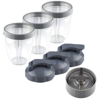 NutriBullet Extractor Blade + 3 18 oz Short Cups with Lip Ring and Flip To-Go Lids