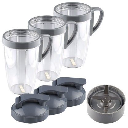 NutriBullet Extractor Blade + 3 24 oz Tall Cup with Handled Lip Ring and Flip To-Go Lids
