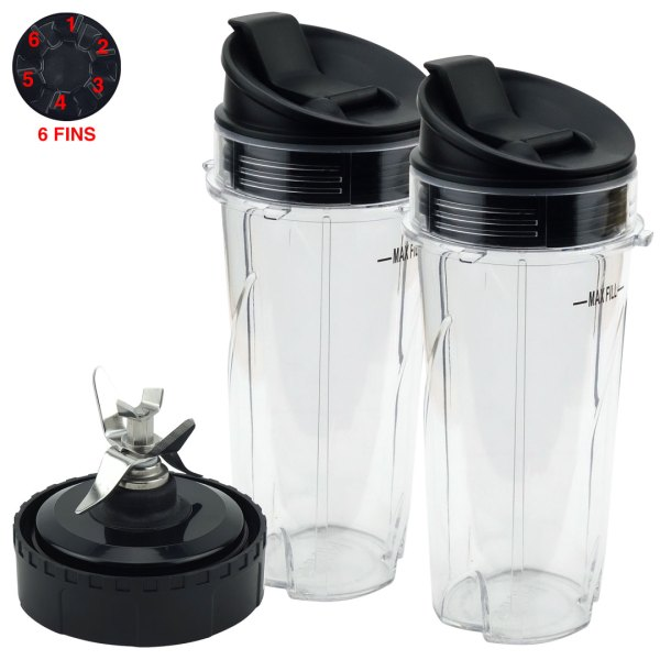 2 Pack 16 oz Cups with Sip & Seal Lid and Blade Assembly Replacement Part Compatible with Nutri Ninja BL200 BL201 207KKU 6 Fins