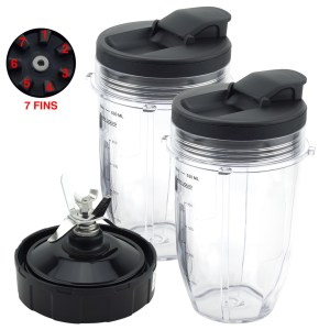 2 Pack 18 oz Cups with Spout Lids and Pro Extractor Blade Assembly Replacement Part Compatible with Nutri Ninja CT800 Series 608KKUC815