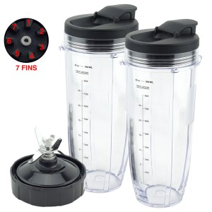 2 Pack 32 oz Cups with Spout Lids and Pro Extractor Blade Assembly Replacement Part Compatible with Nutri Ninja CT800 Series 608KKUC815