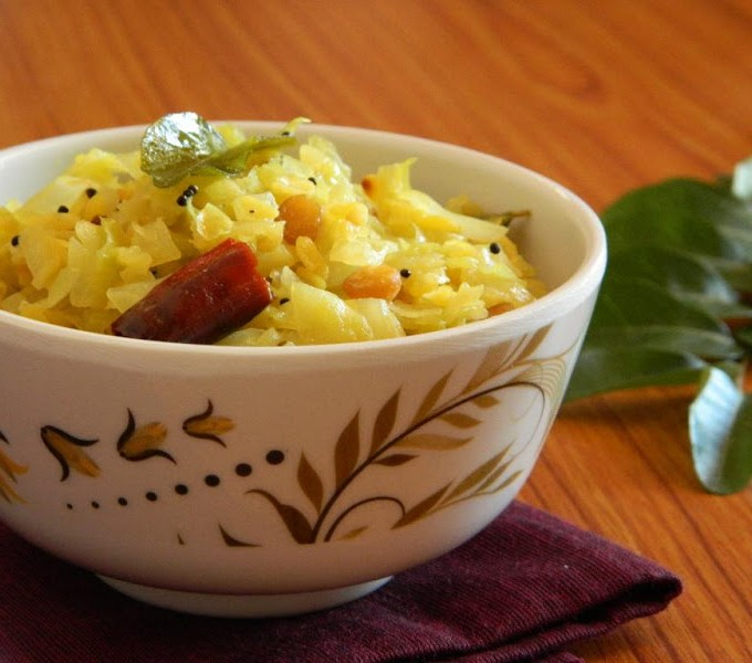 Cabbage Pesarapappu Kura ~ Cabbage Moong Dal Curry