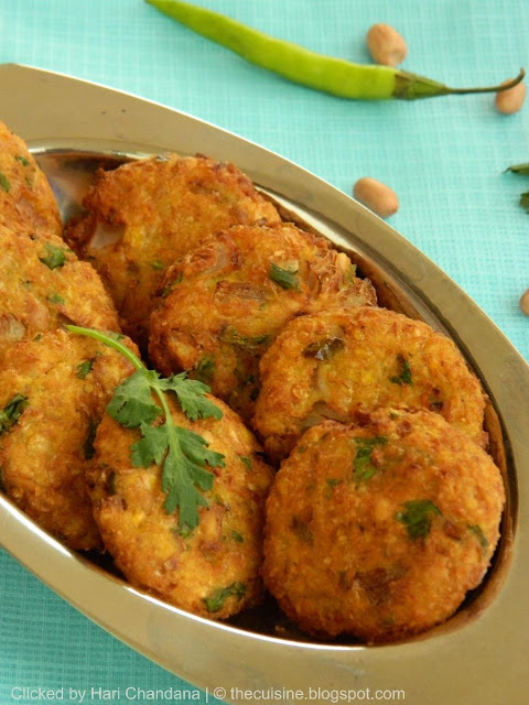 Sweet Corn and Peanut Vada / Fritters Recipe