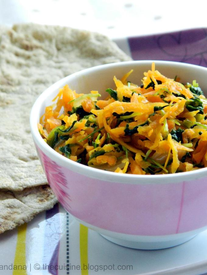 Methi Carrot Sabzi ~ Carrot and Fenugreek Leaves Stir Fry Recipe