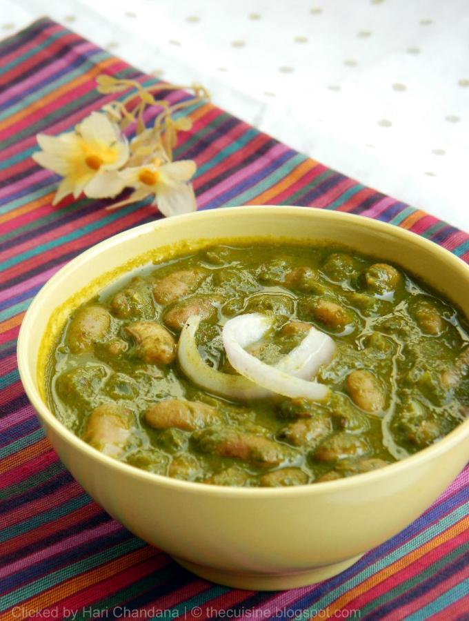 Rajma Palak Recipe ~ Pinto Beans in Spinach Gravy
