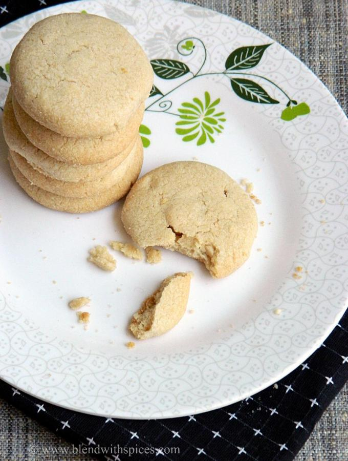Whole Wheat Cashew Butter Cookies ~ Eggless Cookie Recipes