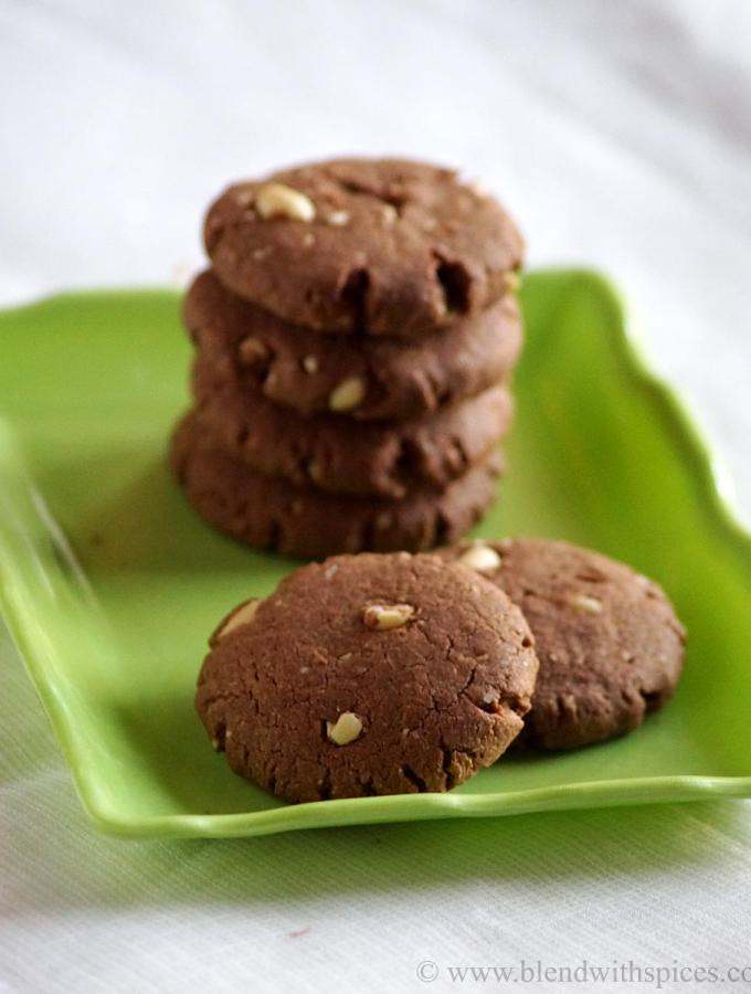 Sorghum Chocolate Peanut Cookies ~ Eggless Jowar Cookies Recipe