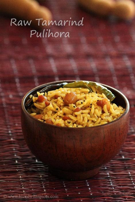 how to make raw tamarind rice, varalakshmi vratham recipe, pulihora recipes