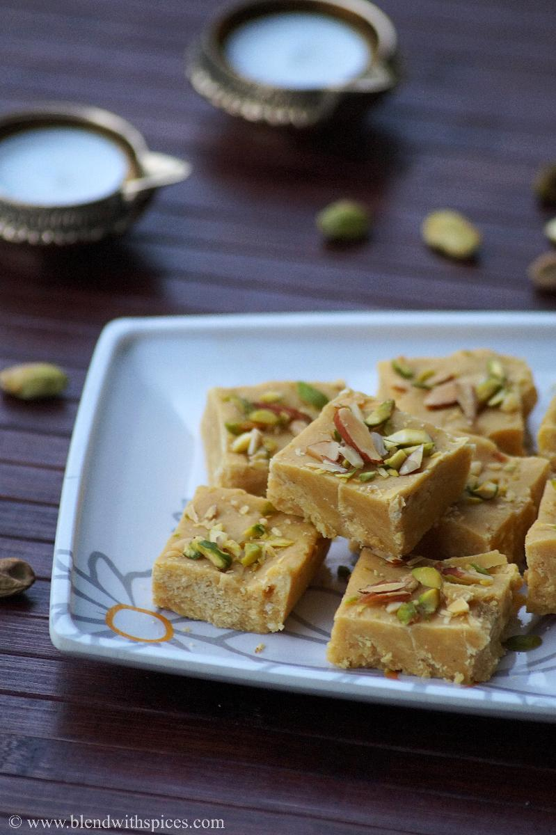 Besan Condensed Milk Burfi Recipe, How to make Besan Milkmaid Burfi, Diwali Sweets Recipes