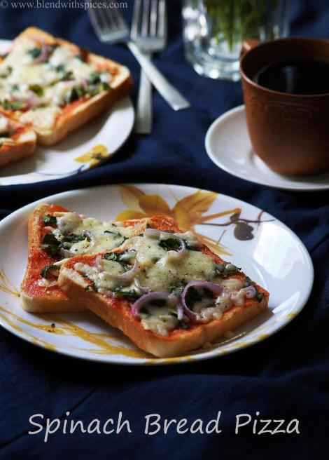 easy spinach bread pizza recipe, how to make bread pizza