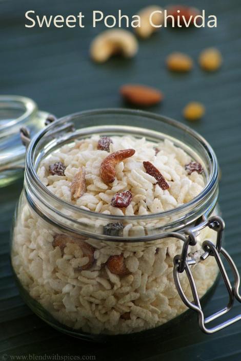 how to make sweet chivda recipe, gokulashtami recipes, blendwithspices.com