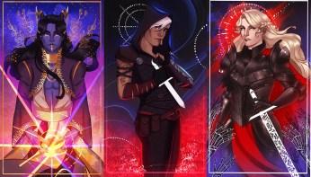 Errant Kingdom - L-R bottom row Erik (he/him) , Maja (she/her) , Roux (they/them)
